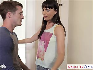 Lusty Dana DeArmond takes his giant flow on her pretty face