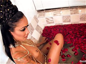 tempting vampy flesh gets a wicked fat prick in the bathtub