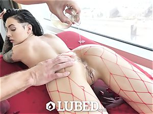 greased Marley Brinx lubed up rubdown pound and creampie