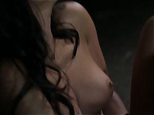 Asa Akira wanks as she sees a mischievous duo
