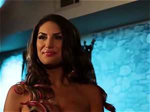 August Ames and Lily Cade rope on bed hookup
