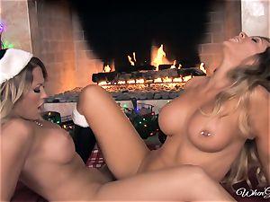 fate Dixon and Capri Cavalli joy in front of the fire