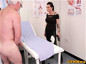 raunchy cop Chantelle Fox providing handjob to pervert doctor
