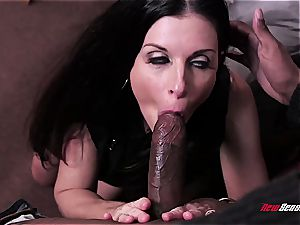 scorching wifey India Summer orgasming on a black wood