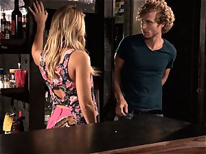 Barmaid Carter Cruise pounds her boss at work