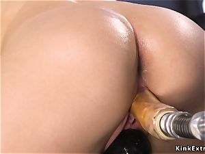 blonde cutie with curved butt romps machine