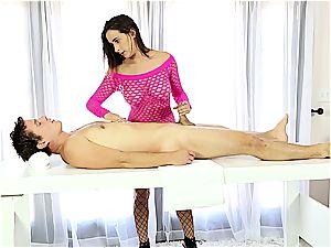 Ashley Adams penetrating man on the tugging table