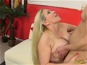 Mature girl Cala thirsts entices stud