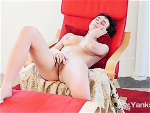 twitches brunette Eden Rose fumbles Her slit