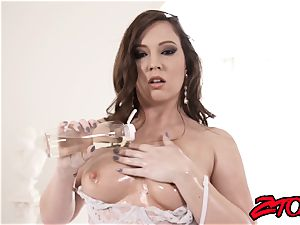 curvaceous Maddy Oreilly lubricates up for humungous man-meat injection