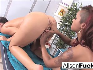 wondrous flesh uses her frigs and gullet to rubdown Alison