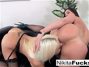 Nikita Von James and Kendra passion slurp each other