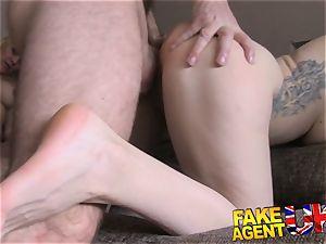 FakeAgentUK anal threesome on the casting sofa