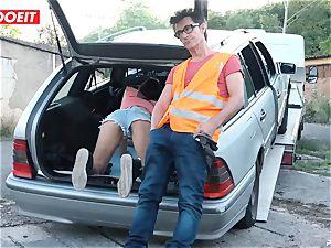 LETSDOEIT - teenage pummels senior dude For Free Car Repair