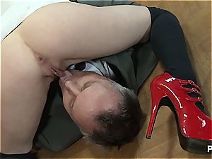 Nurse Samantha gets him out of the wheelchair