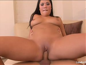 super-sexy babe London Keyes lets him jizm on her giant tits