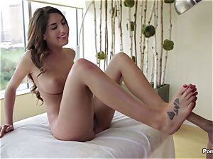 Oily session and inward massage for August Ames