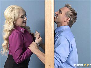 blonde secretary Kagney Linn Karter humping her super-naughty partner