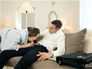 Pretty wifey Connie Carter quits cleaning to bang her fellow