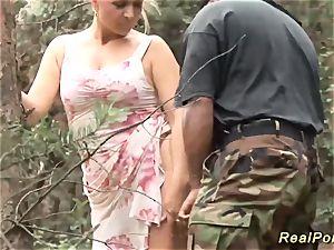big-boobed stepmom enjoys hump in nature
