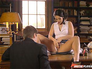 Headmistress Eva Lovia plays with her naughty schoolgirl