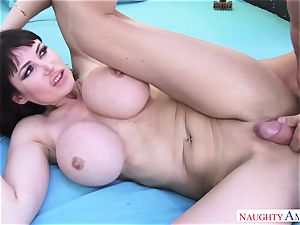 gigantic man Johnny Castle plumbs his huge-titted neighbor in the backyard