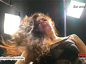 unexperienced Nicole get her first-ever mass ejaculation gang-bang