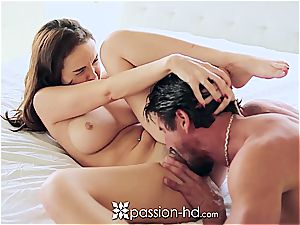 Passion-HD - Dillion Harper thumbs her smooth-shaven poon
