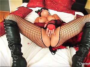 Dolled up Charley haunt plays with her snatch