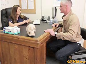 female dom Cayenne Klien makes patient cum