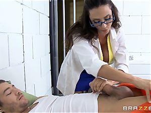 wonderful jail doctor Ariella Ferrera strokes off her patient