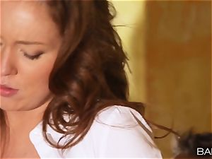 Maddy OReilly is poked over the desk by the manager