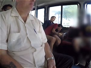 Karmen Bella romps her guy on a crowded bus