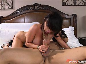 insatiable honey Nikki Benz gets a immense cumload on her boobies