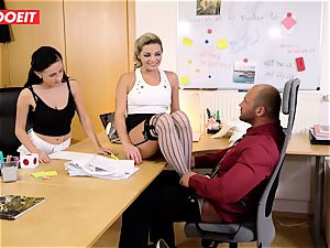 Stepdaughter joins father in ravaging the office secretary