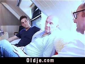 six oldman drilling in gang a jaw-dropping molten blondie
