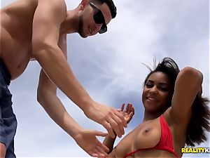 Nicole Bexley taken from the beach and riding huge schlong