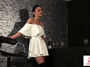 CFNM femdom trains jerkoff at the bar