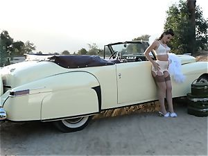 Lana Rhoades vintage car twat play