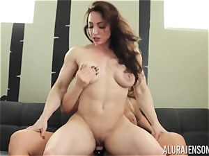 Alura Jenson honeypot packed with strap-on mighty beefy gal Brandi May
