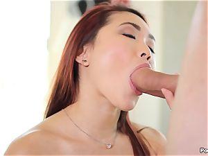 ginger-haired japanese Lea Hart enjoys a giant shaft