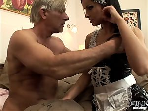 dark-haired hoe gets pummeled firm by an aged boy