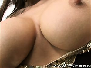 Smoking black-haired gets a mouthful of goo