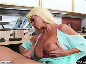 stringent headmistress Nikita Von James with thick knockers operates its worker