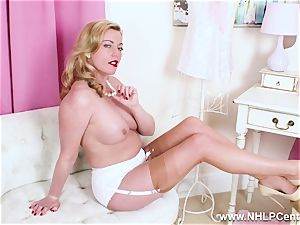 horny blonde milf frigs succulent cooch in nylons high-heeled shoes