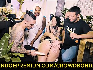 CROWD bondage - big black cock and domination & submission torment for Aruna Aghora