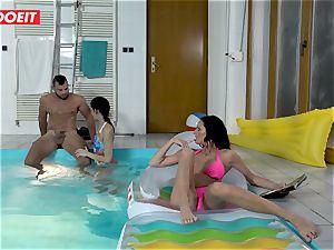 LETSDOEIT - sonnie screws StepMom And step-sister At The Pool