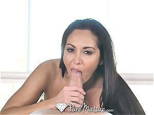 PureMature lubed up rubdown nail with cougar Ava Addams