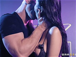 Stripper Brenna Sparks slurps up that large pink cigar of Johnny
