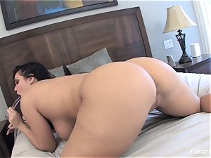 Alison Tyler wanks with a glass fuck stick for you